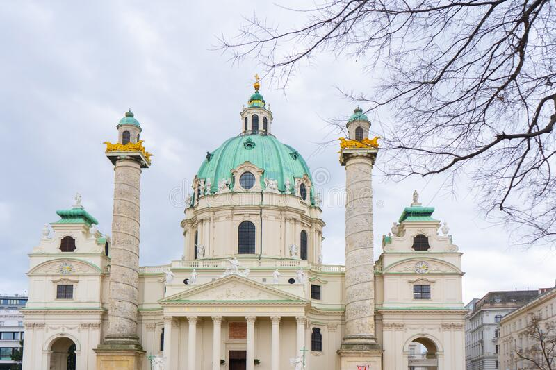 St. Charles Church Karlskirche a Baroque church located on the south side of Karlsplatz in Vienna, Vienna,. Austria stock images