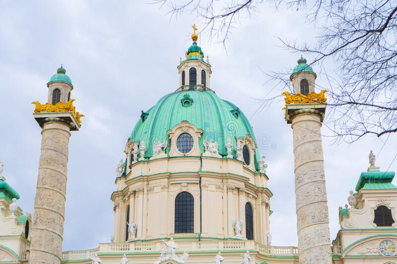 St. Charles Church Karlskirche a Baroque church located on the south side of Karlsplatz in Vienna, Vienna,. Austria royalty free stock images