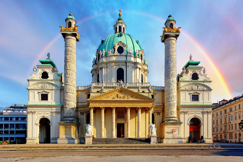St. Charles`s Church, Karlskirche in Vienna, Austria at sunrise stock photography