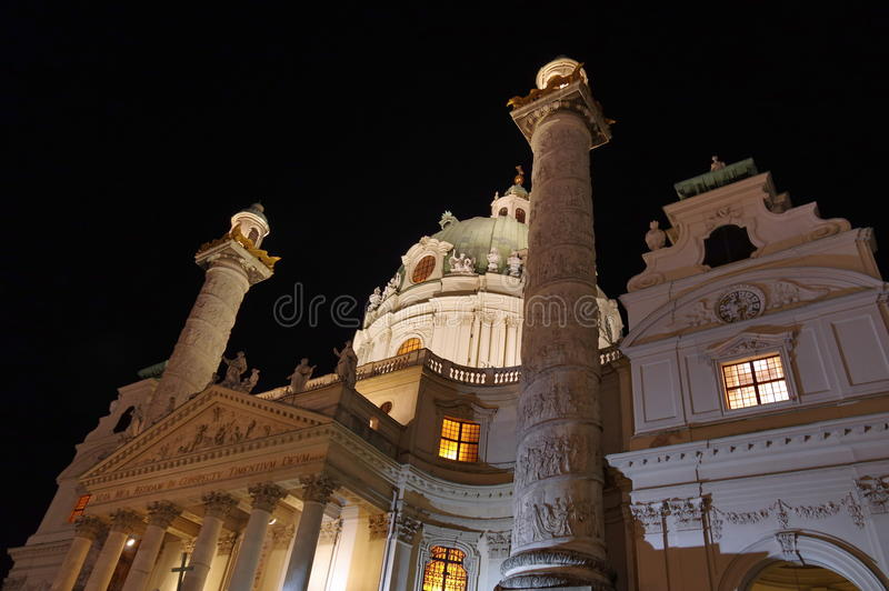 Karlskirche. St. Charles Church, at night - landmark attraction in Vienna, Austria stock image