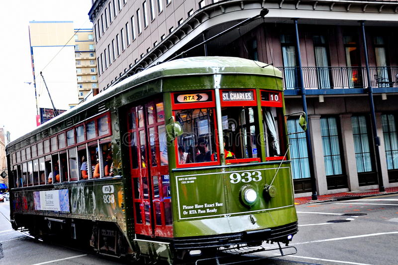 St Charles Streetcar in New Orleans, La stock fotografie