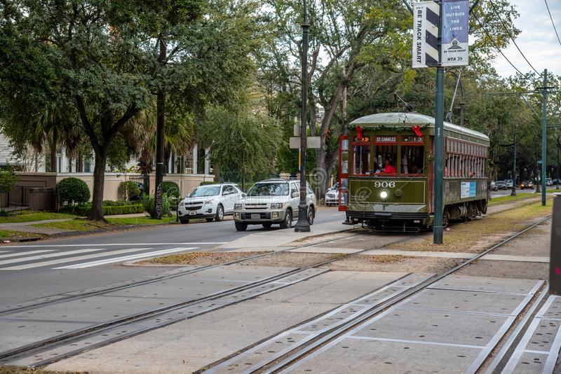 St. Charles streetcar in NOLA. St. Charles streetcar in New Orleans is the oldest working one in the world stock image