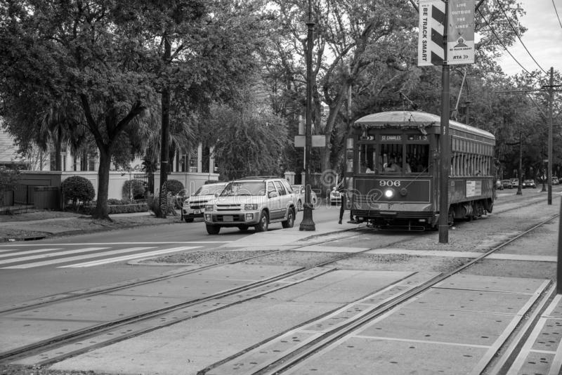 St. Charles streetcar in NOLA. St. Charles streetcar in New Orleans is the oldest working one in the world royalty free stock images