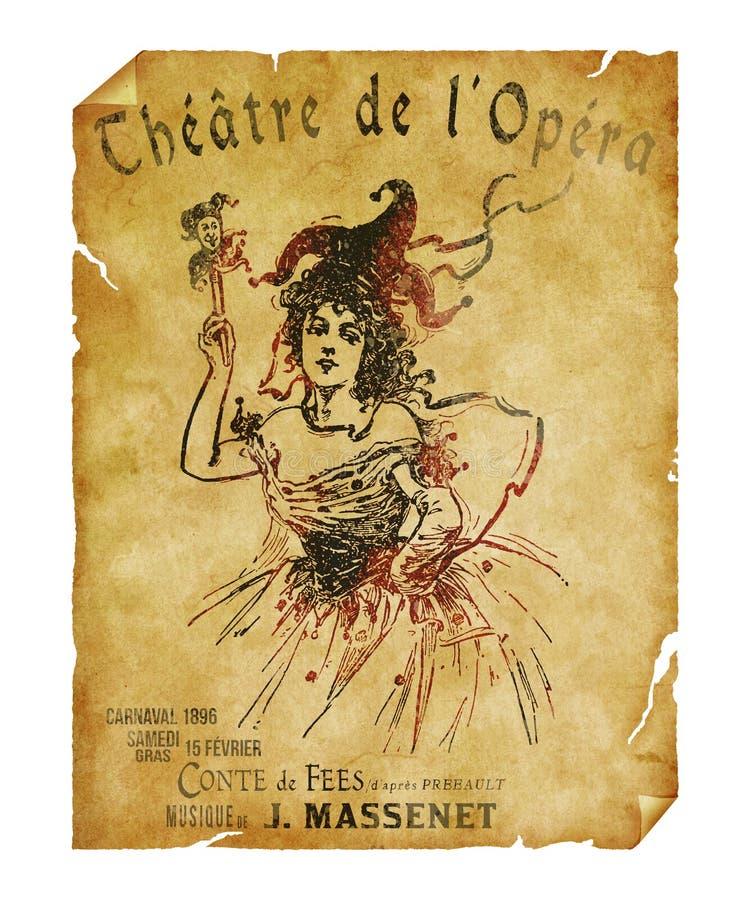 St Charles Theater Opera Flyer de la Nouvelle-Orléans images libres de droits