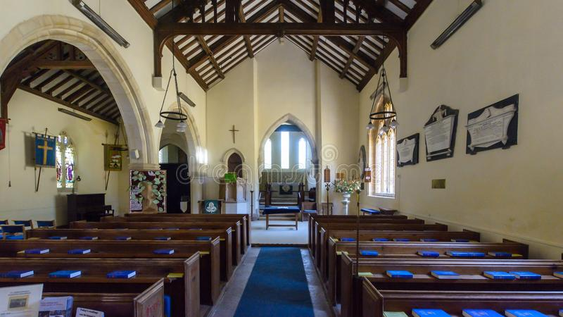 St Christopher`s Church - Nave. Winfrith Newburgh, England - July 23, 2018: St Christopher`s Church - Nave stock photography