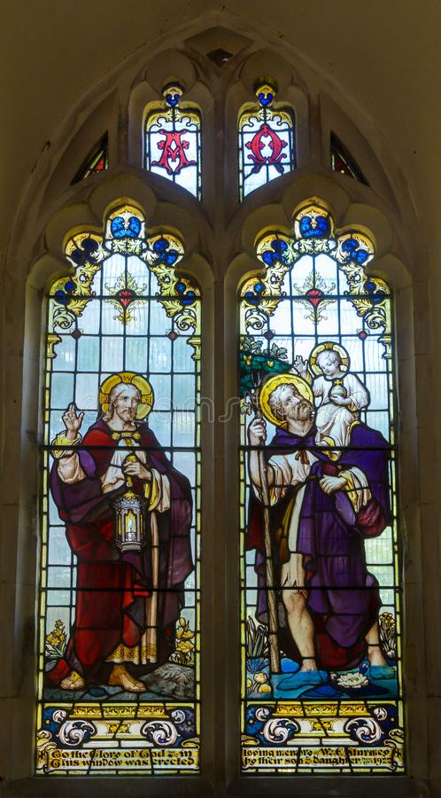St Christopher`s Church - Stained Glass Window stock photo