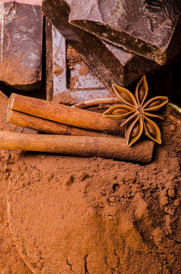 St?cke dunkles Schokoladen- und Kakaopulver lizenzfreies stockbild
