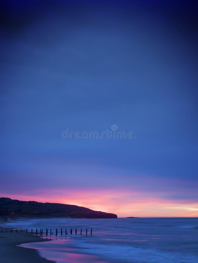 St Clair Beach Dunedin Otago New Zealand do nascer do sol fotografia de stock royalty free