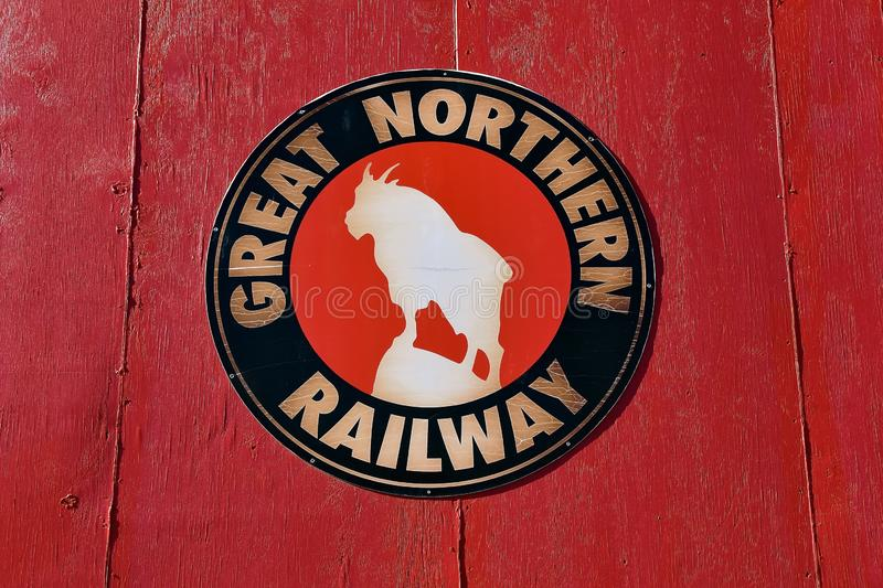 Rocky, the Great Northern train logo. ST. CLOUD, MINNESOTA, April 19, 2019: The Great Northern Railway was a creation of James J. Hill, which ran a train from St stock image