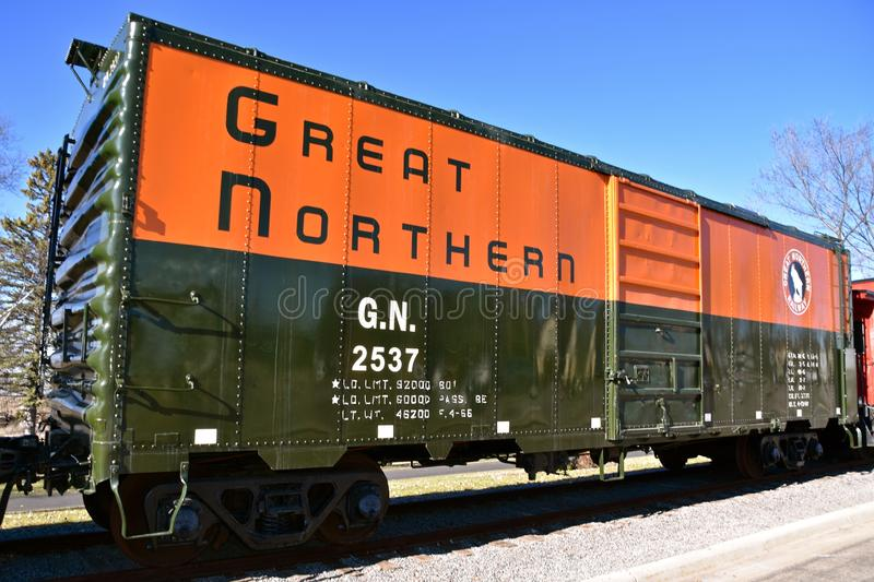 Rocky, the Great Northern train logo. ST. CLOUD, MINNESOTA, April 19, 2019: The Great Northern Railway was a creation of James J. Hill, which ran a train from St royalty free stock photography