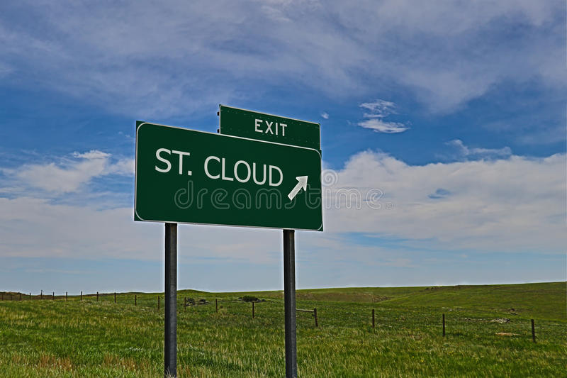 St. Cloud. US Highway Exit Sign for St. Cloud HDR Image royalty free stock photos
