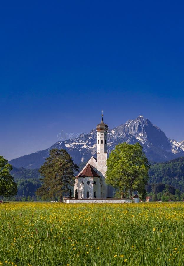 St Coloman在施万高巴伐利亚德国附近的朝圣教会 免版税库存图片