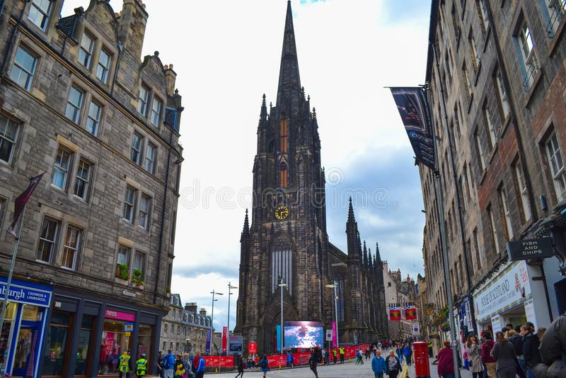 St Columba ` s Vrije Kerk van Schotland, in Koninklijke Mijl in Edinburgh royalty-vrije stock afbeelding
