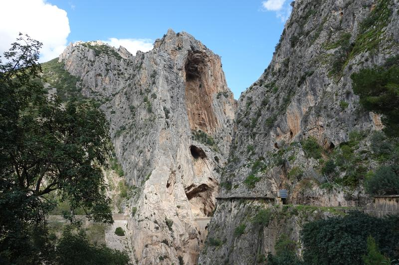 St Cristopher`s Niches at Caminito del Rey in Andalusia, Spain. The Caminito del Rey i or King`s little footpath s a cliff-side path hanging 100m above the stock photography