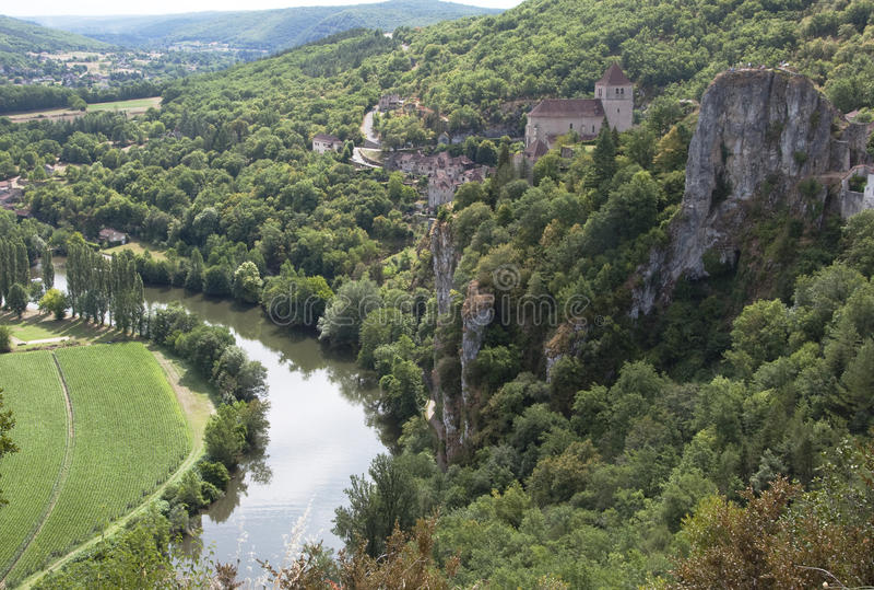 St Cyr Lapopie, French clifftop village royalty free stock photos