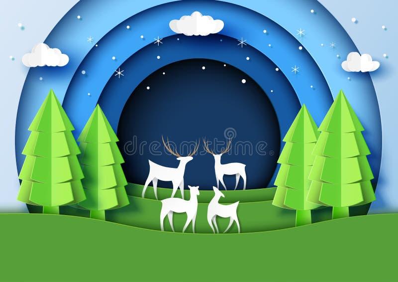 St da arte do papel de fundo da paisagem da estação dos cervos família e do inverno ilustração stock