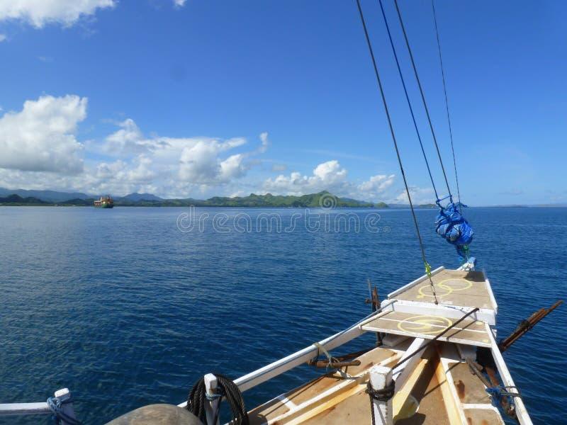 1st dag op de boot stock fotografie