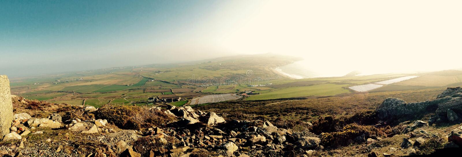 St.davids. View from top of carn llidi mountain stock photography