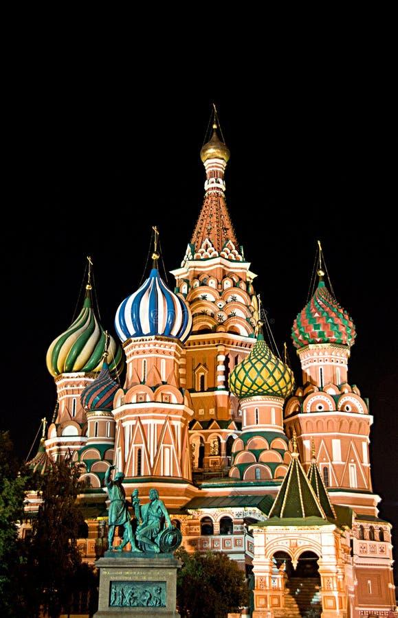 St. de Kathedraal van het basilicum op Rood Vierkant, Moskou, Rusland stock afbeelding