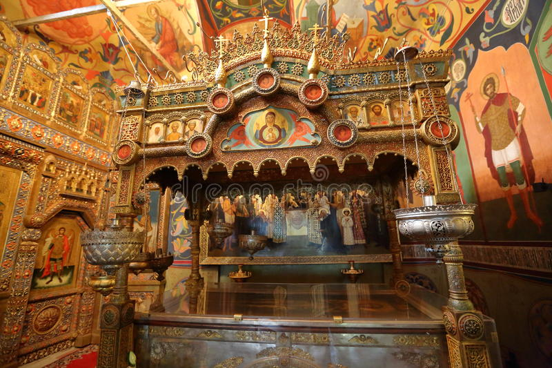 St de Kathedraalbinnenland van het Basilicum Moskou, Rusland stock afbeelding