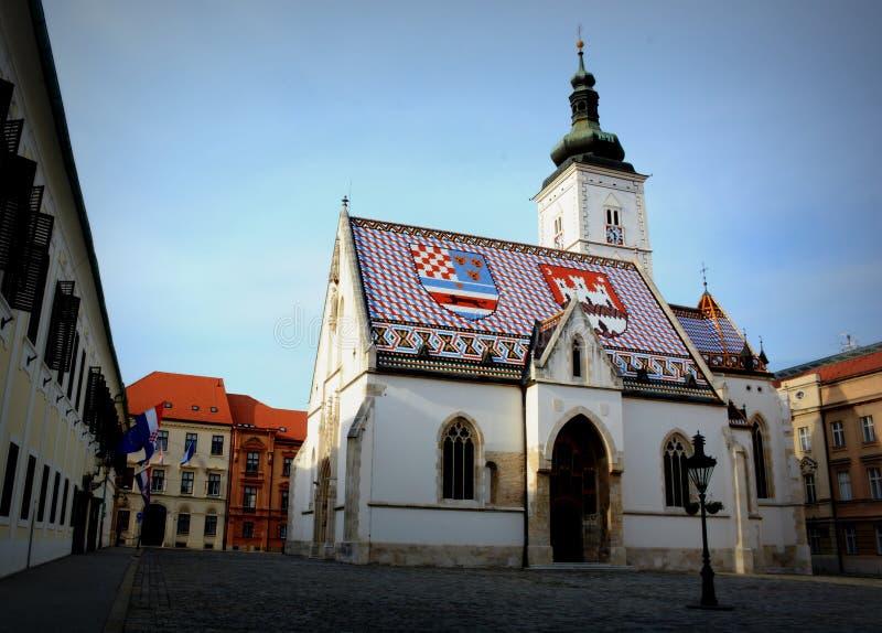 St de Kerk van het Teken van Oud Zagreb, Kroatië stock afbeelding