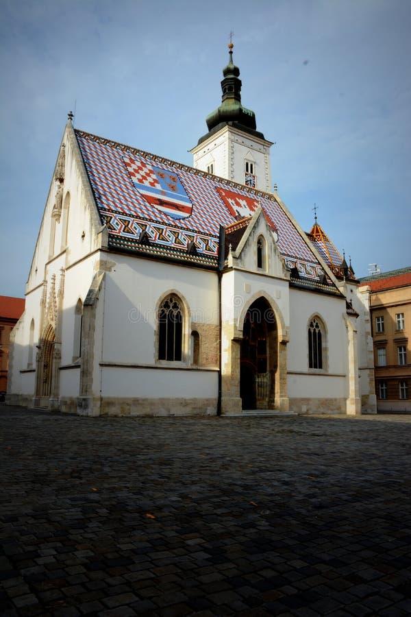St de Kerk van het Teken van Oud Zagreb, Kroatië royalty-vrije stock fotografie