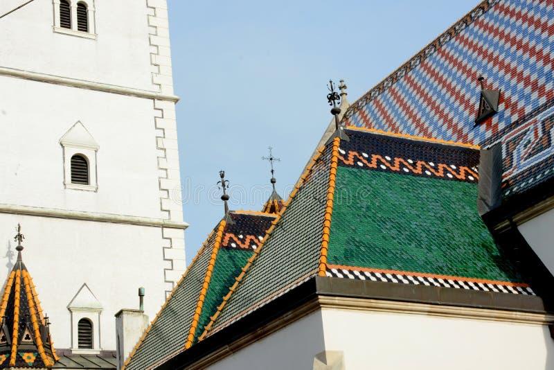 St de Kerk van het Teken van Oud Zagreb, Kroatië stock foto's