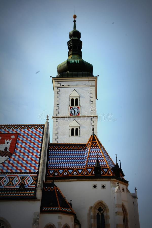 St de Kerk van het Teken van Oud Zagreb, Kroatië royalty-vrije stock afbeeldingen