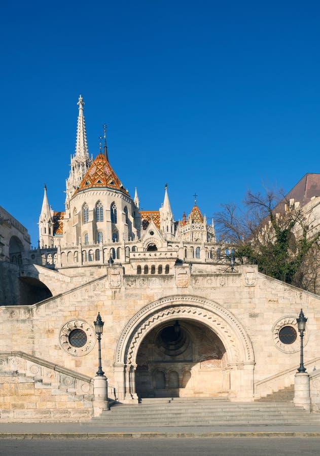 St, de kerk van Matthias en ingang aan Visser Bastion in Budapes royalty-vrije stock foto