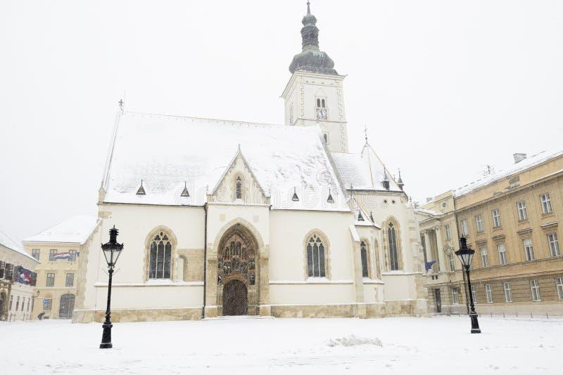 St de kerk van Tekens in Zagreb, Kroatië royalty-vrije stock foto's