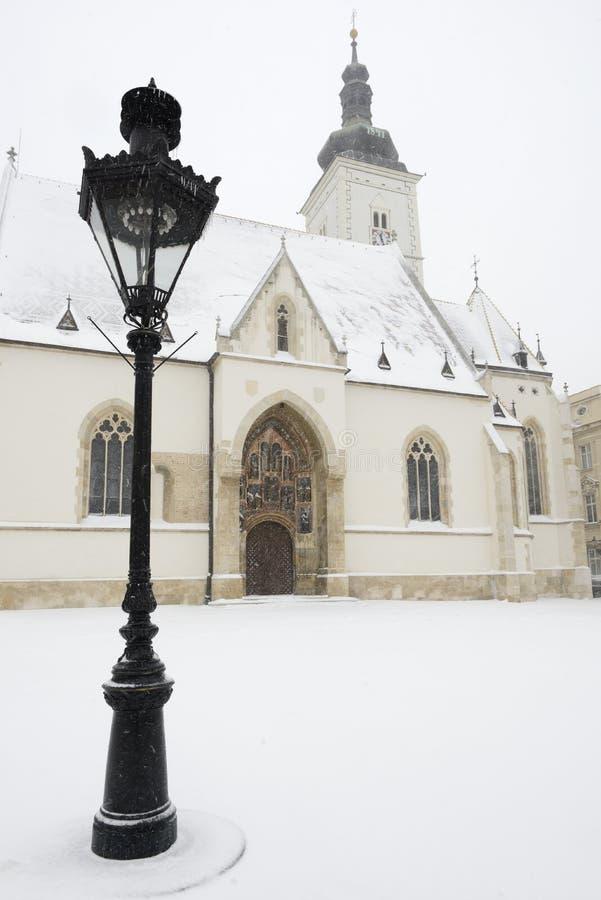 St de kerk van Tekens in Zagreb, Kroatië stock foto