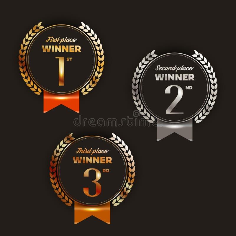1st, 2de, 3de plaatsembleem ` s met laurels en linten stock illustratie