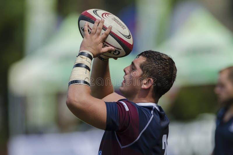 1st de Teamsmiddelbare scholen van de rugbyactie stock foto's