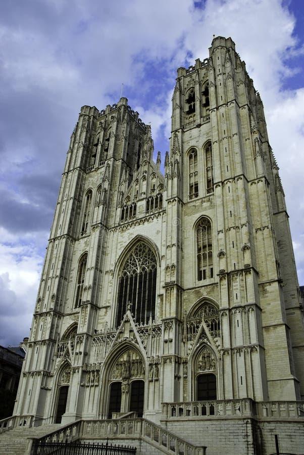 st del Michael di gudula della cattedrale del Belgio Bruxelles immagine stock
