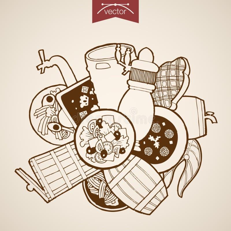 St dibujado mano de la ensalada de la pizza del vector del vintage del grabado ilustración del vector