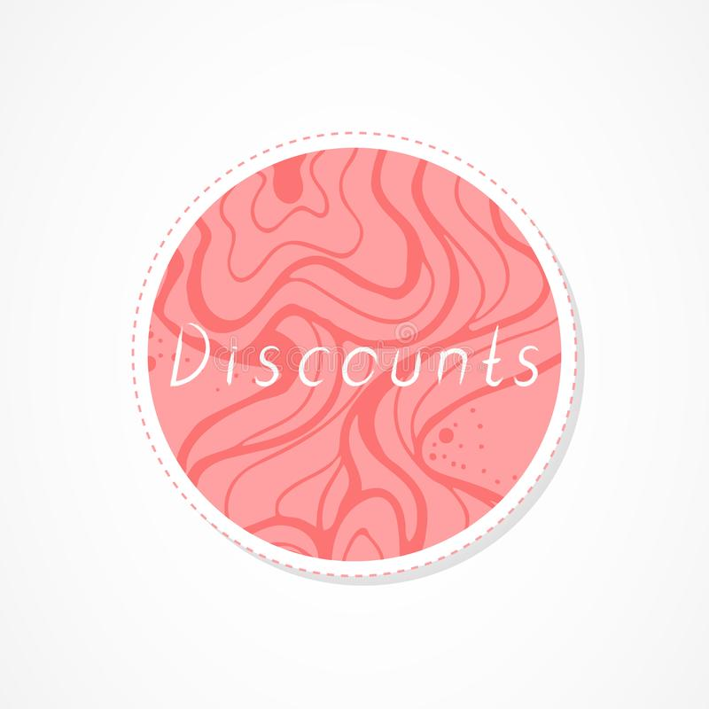 Discounts inscription on decorative round backgrounds with abstract pattern. Hand drawn lettering. Vector illustration vector illustration