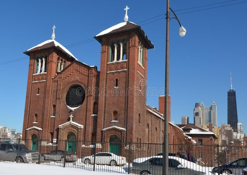 St. Dominic Church In Snow. This is a Winter picture of St. Dominic Catholic Church in Chicago, Illinois. The church was designed by William J. Brinkman, is an stock images