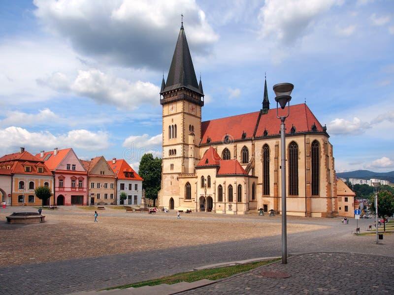 St Egidius Basilica, Bardejov, Slovaquie images stock