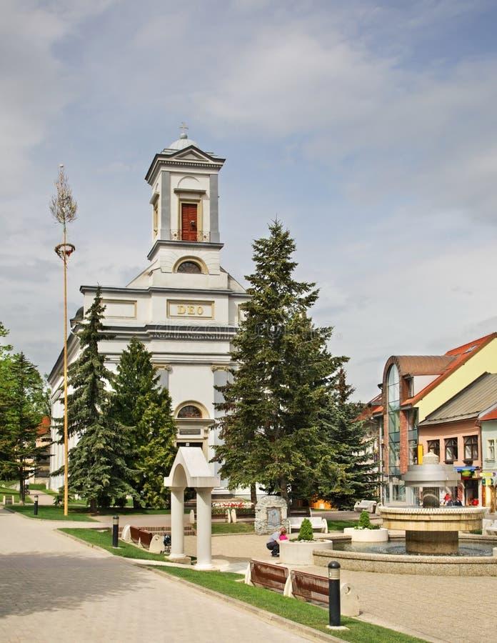 St Egidius Square i Poprad slovakia royaltyfri foto