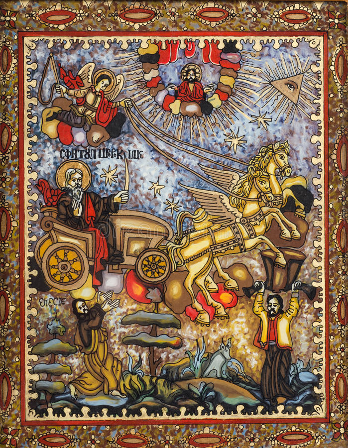 St. Elijah Ascend To Heaven. Bible story painted on reverse glass in the eastern orthodox and naive style: Elisha sees Elijah whirled to Heaven in fiery chariot stock illustration