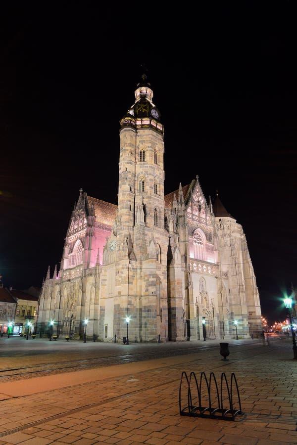 The St. Elisabeth Cathedral. Kosice, Slovakia - april 11, 2015: The St. Elisabeth Cathedral at night is a Gothic cathedral april,11 2015 in Kosice, Slovakia royalty free stock images