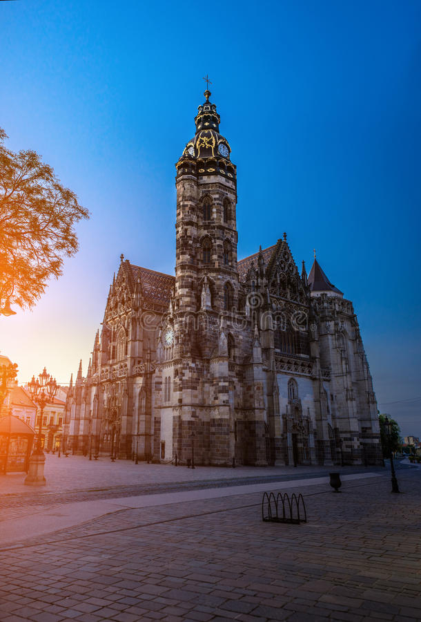 St. Elisabeth Cathedral, Kosice, Slovakia. The St. Elisabeth Cathedral is a Gothic cathedral in Kosice. It is Slovakia biggest church, as well as one of the royalty free stock image
