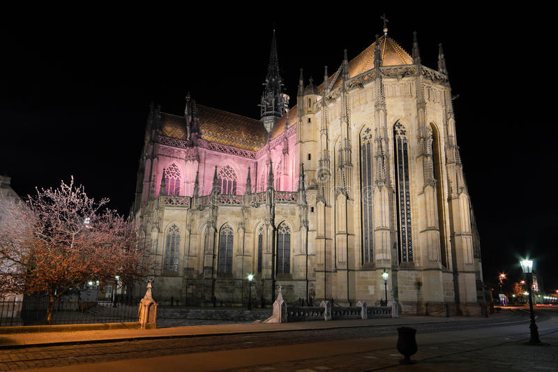 The St. Elisabeth Cathedral at night. Kosice, Slovakia - april 11, 2015: The St. Elisabeth Cathedral at night is a Gothic cathedral april,11 2015 in Kosice stock image