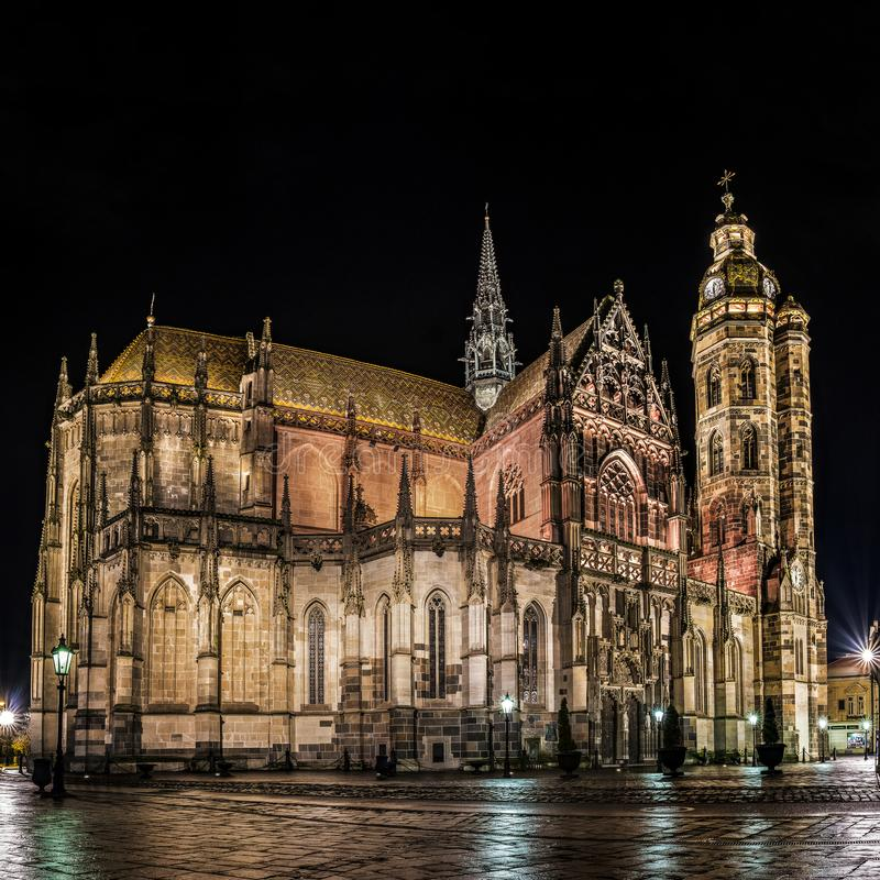St. Elisabeth Cathedral Panorama Kosice. Panoramatic nightshot of the St Elisabeth Cathedral after a light rain showers. The easternmost Gothic cathedral in stock photo