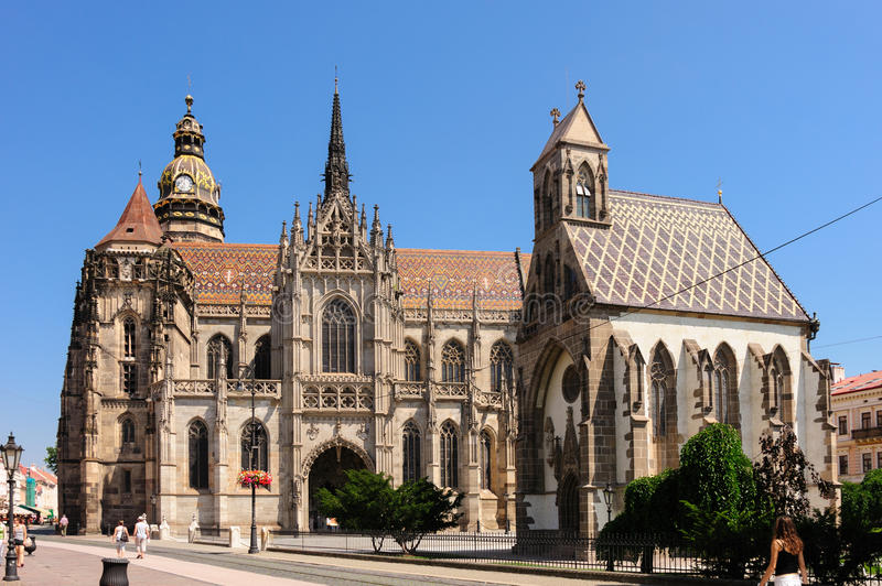 St. Elisabeth cathedral and St. Michael chapel. KOSICE, SLOVAKIA - JULY 1, 2009: St. Elisabeth cathedral and St. Michael chapel at main square royalty free stock image