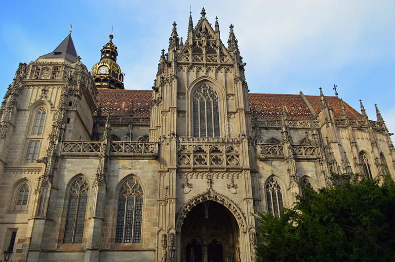 St. Elisabeth`s Cathedral or Dóm svätej Alžbety Kosice Slovakia. It is Slovakia`s largest church and one of the easternmost Gothic cathedrals in stock image