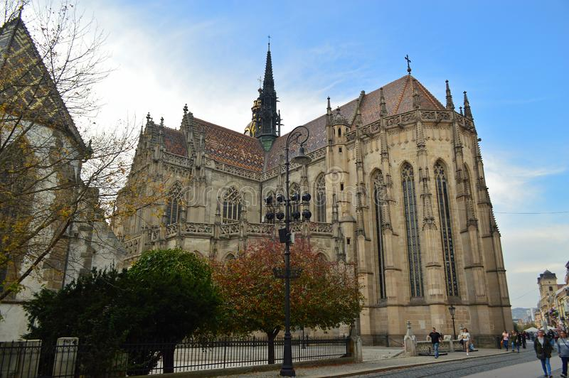 St. Elisabeth`s Cathedral or Dóm svätej Alžbety Kosice Slovakia. It is Slovakia`s largest church and one of the easternmost Gothic cathedrals in royalty free stock photo