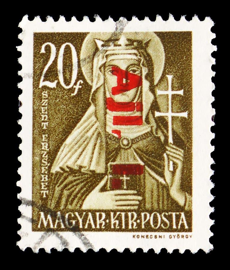 St Elizabeth 1207-1231, grandes mulheres do serie húngaro da história, cerca de 1944 fotos de stock