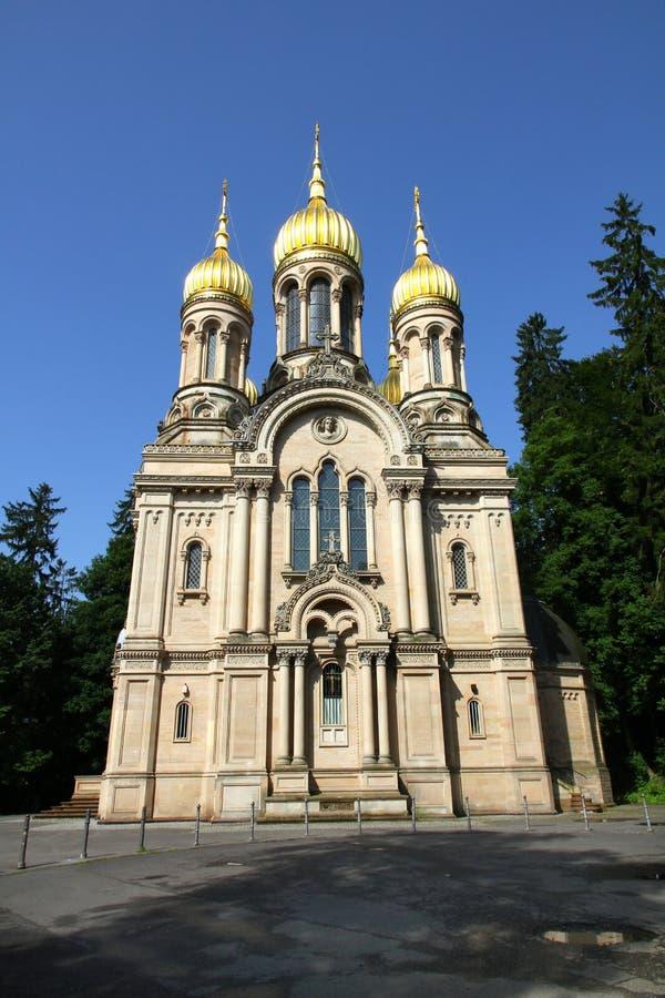 St. Elizabeth Kerk (Wiesbaden) stock foto