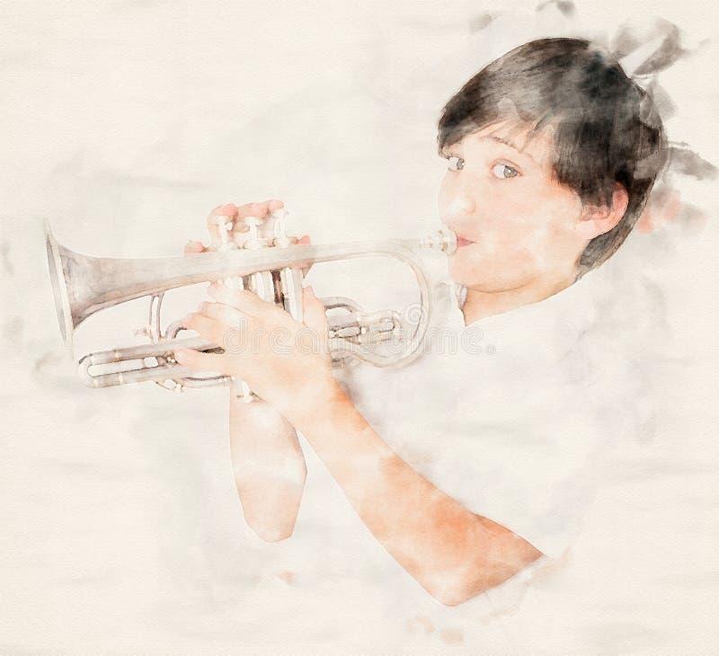 St?ende av en pojke som spelar trumpeten royaltyfri illustrationer